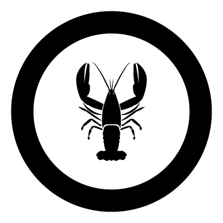 Craw fish icon black color in circle vector illustration isolated 向量圖像