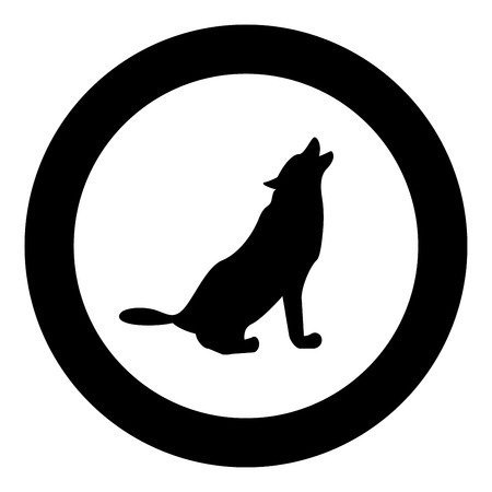 Silhouette of the wolf black icon in circle vector illustration isolated flat style .
