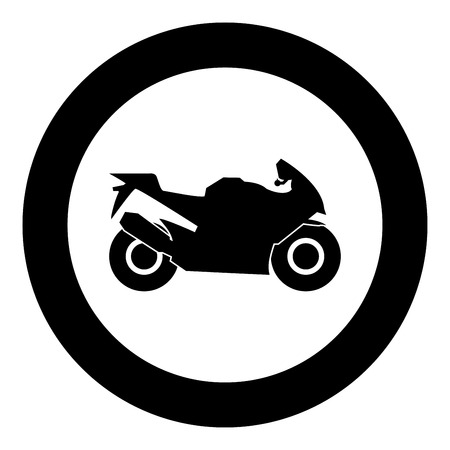 Motorcycle black icon in circle vector illustration isolated flat style . Illustration