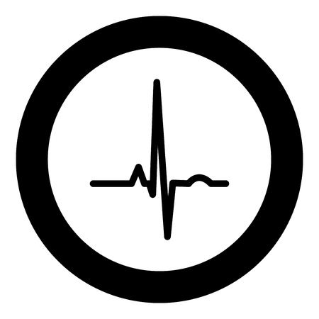 Heart rhythm ekg black icon in circle vector illustration isolated flat style .