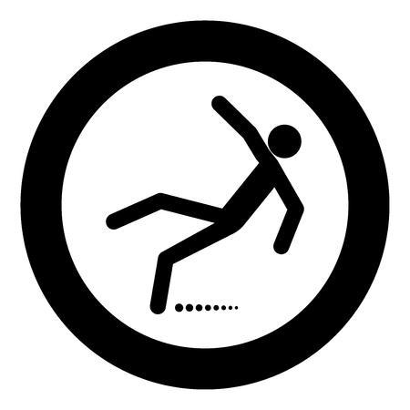 Man slip fall icon black color in circle vector illustration isolated