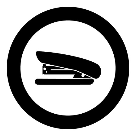 Stapler icon black color in circle vector illustration isolated Illustration
