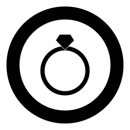 Ring icon black color in circle vector illustration isolated Illustration