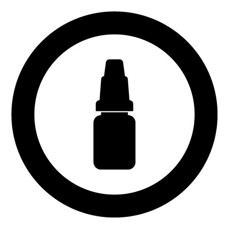 Eye drops icon black color in circle vector illustration isolated Illustration
