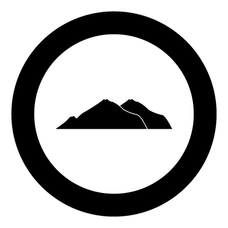 Mountain icon black color in circle vector illustration isolated
