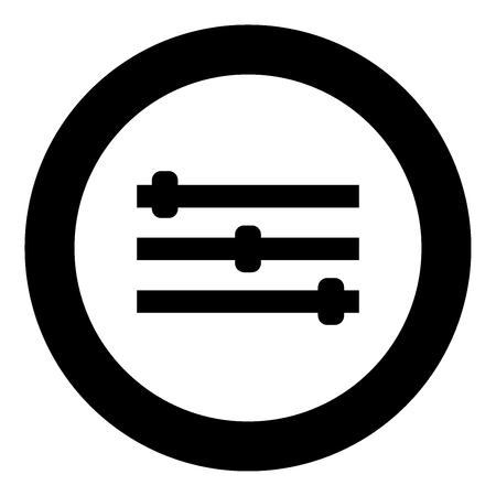 Control panel icon black color in circle vector illustration isolated