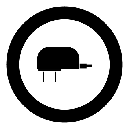 Charger icon black color in circle vector illustration isolated Illustration
