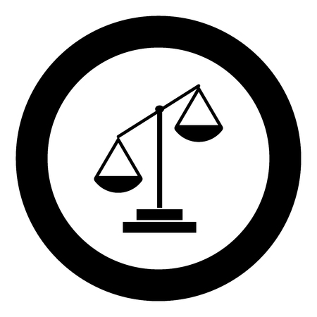 Law scale icon black color in circle vector illustration isolated