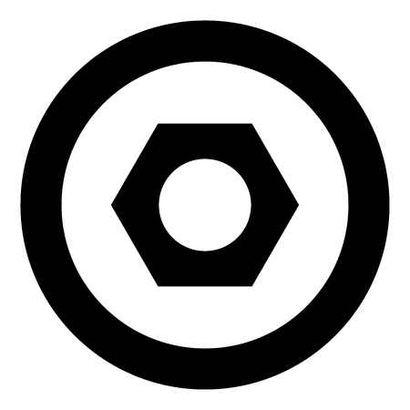 Hex nut icon black color in circle vector illustration isolated
