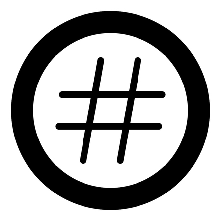 Hashtag icon black color in circle vector illustration isolated Illustration