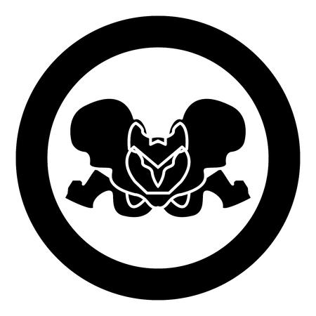 Pelvis skeleton black icon in circle vector illustration isolated flat style . Illusztráció