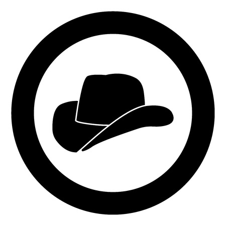 Cowboy hat icon black color in circle vector illustration isolated