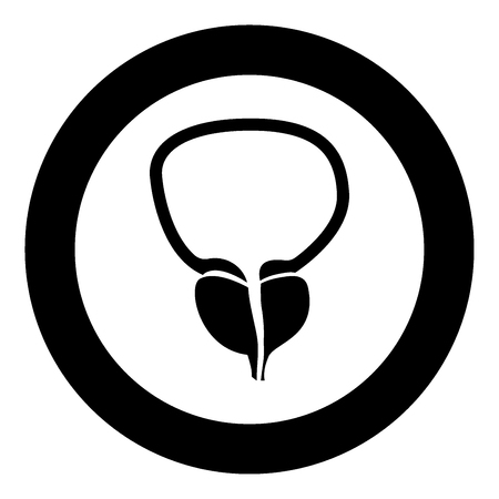 The prostate gland and bladder icon black color in circle vector illustration isolated