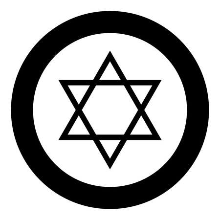 Jewish star of David icon black color in circle vector illustration isolated Illustration