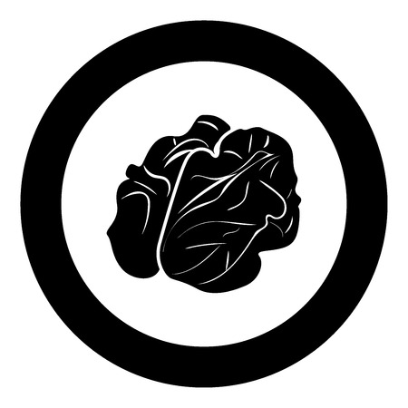 Walnut icon black color in circle vector illustration isolated