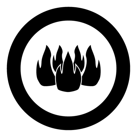 Fire icon black color in circle vector illustration isolated Illustration