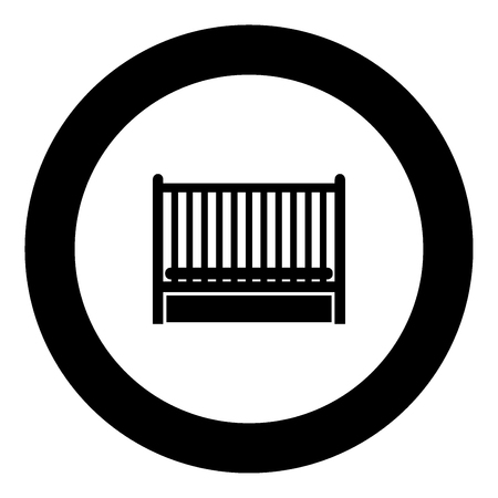 Baby bed icon black color in circle vector illustration isolated