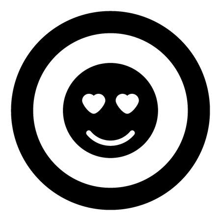 Smile icon black color in circle vector illustration isolated Vektoros illusztráció
