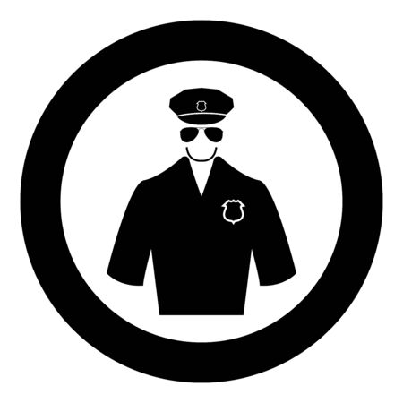 Police black icon in circle vector illustration isolated flat style . Illustration