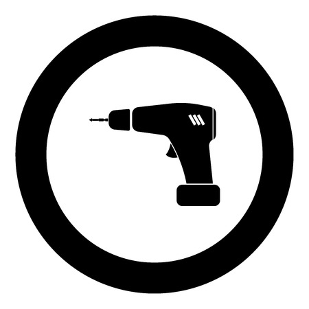 Screwdriver icon black color in circle vector illustration isolated