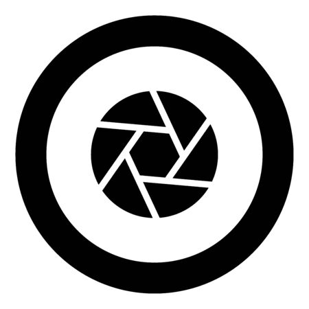 Camera lens shutter icon black color in circle vector illustration isolated