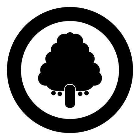 Fruit tree icon black color in circle vector illustration isolated