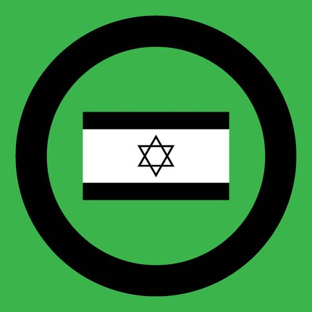 Flag of Israel icon black color in circle vector illustration isolated