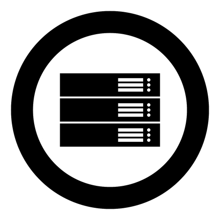 Server black icon in circle vector illustration isolated flat style . Illustration