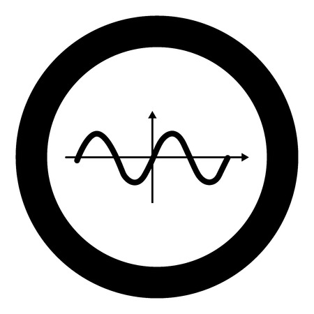 Sinewave icon black color in circle vector illustration isolated