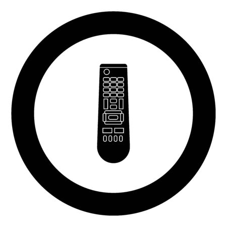 Remote control panel icon black color in circle vector illustration isolated Vectores