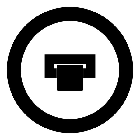 Atm card slot  icon black color in circle vector illustration isolated 일러스트