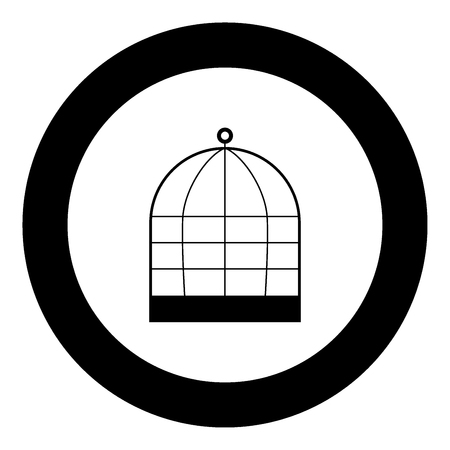 Iron cage icon black color in circle vector illustration isolated