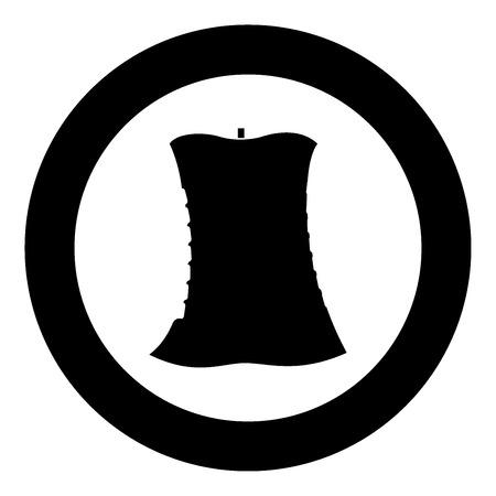 Apple core black icon in circle vector illustration isolated. Vektorové ilustrace