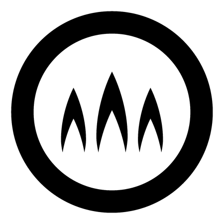 Icona del nero della fiamma di fuoco nell'illustrazione di vettore del cerchio isolata.