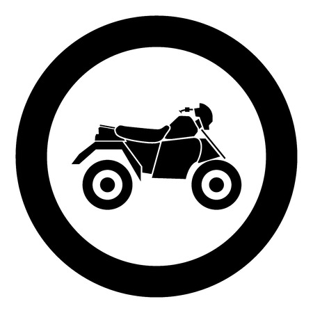 ATV motorcycle on four wheels black icon in circle vector illustration isolated. Illustration