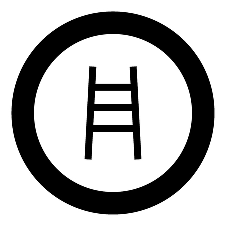 Ladder black icon in circle vector illustration isolated.