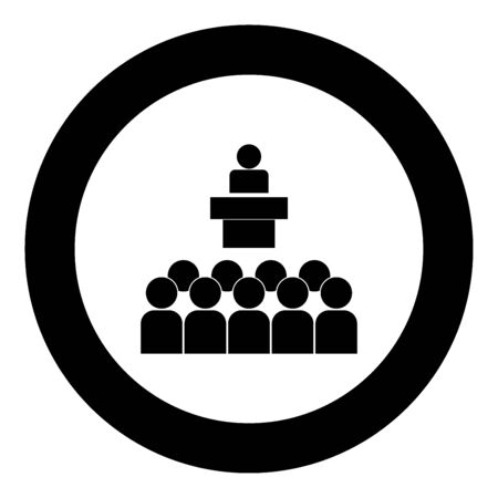 Speaker before the audience black icon in circle vector illustration isolated