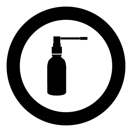 Throat spray black icon in circle vector illustration isolated.