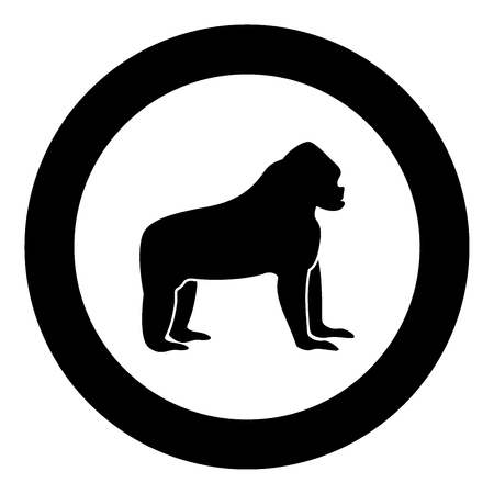 Gorilla black icon in circle vector illustration isolated.