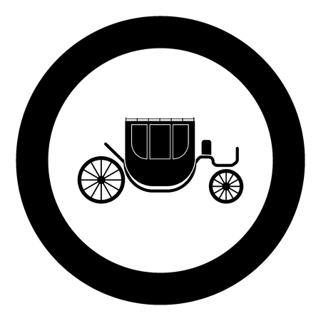 Carriage black icon in circle vector illustration isolated Illustration