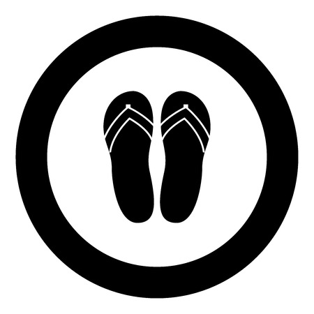 Beach slippers black icon in circle vector illustration isolated.