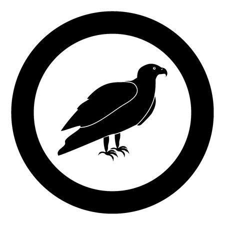 Eagle black icon in circle vector illustration isolated
