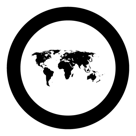 World map black icon in circle vector illustration.