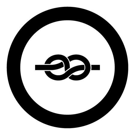 Icona nera del nodo nell'illustrazione di vettore del cerchio isolata