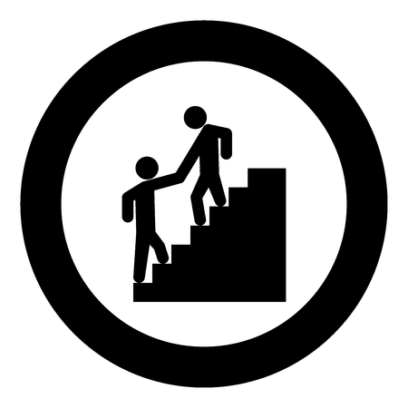 Man helping climb other man black icon in circle vector illustration isolated