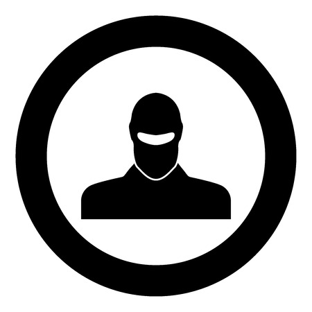 Man in balaclava or pasamontanas black icon in circle vector illustration isolated