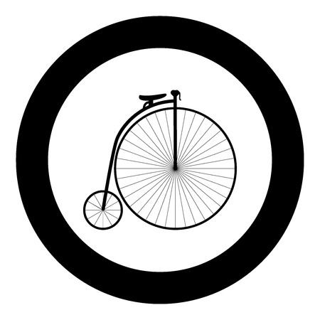 Retro bicycle black icon in circle vector illustration isolated