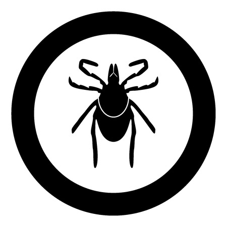 Tick black icon in circle vector illustration isolated