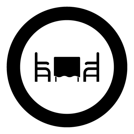 Table and two chair or armchair in restaurant black icon in circle vector illustration isolated