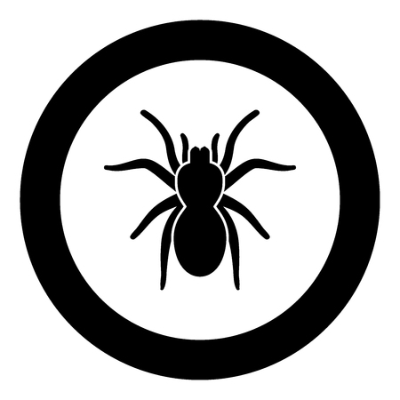 Spider or tarantula black icon in circle vector illustration isolated